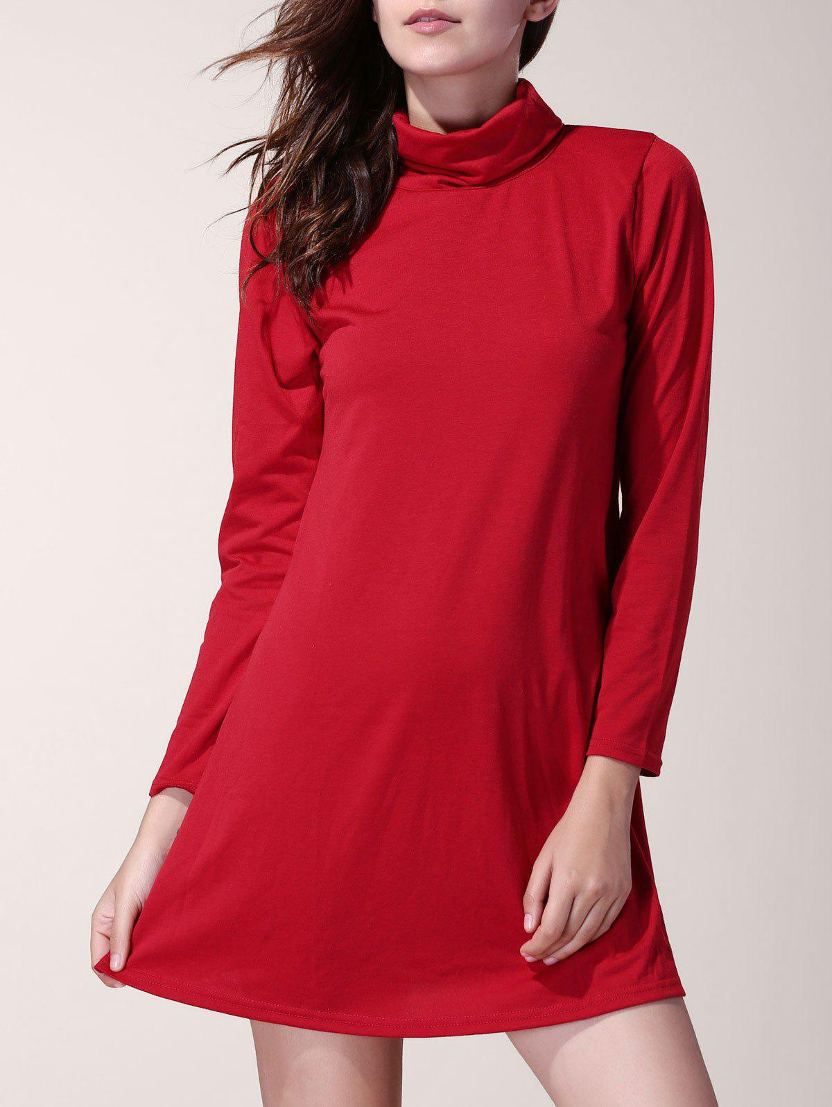 Affordable Women's Chic Long Sleeve Solid Color Turtleneck A-Line Dress