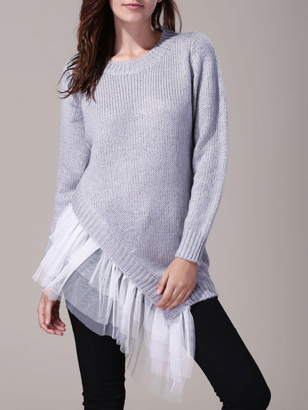 Affordable Women's Stylish Round Neck Lace Splicing Long Sleeve Asymmetrical Sweater