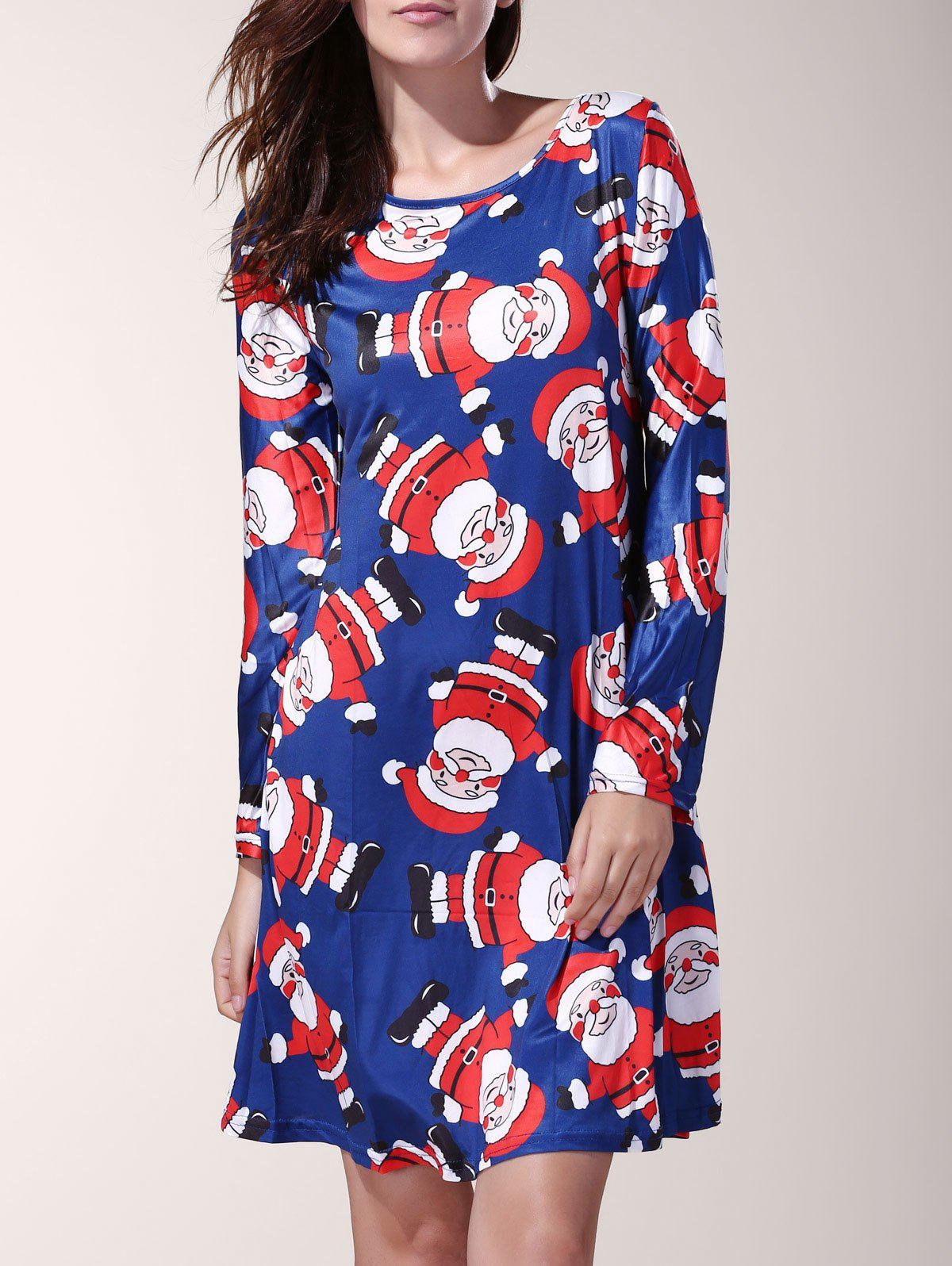 Shop Chic Long Sleeve Cartoon Santa Printed Mini Dress For Women