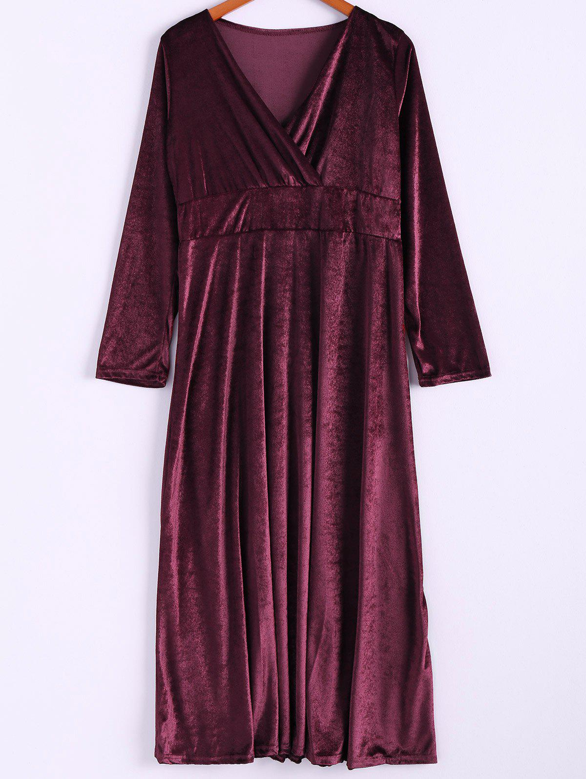 Shop Elegant V-Neck Long Sleeve Maxi Velvet Dress For Women