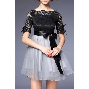Wedding Bowknot Embellished Lace Spliced Dress - Black And Grey - S