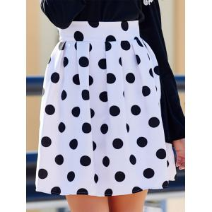 Sweet High-Waisted Polka Dot Ruffled Women's Skirt - White And Black - Xl