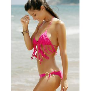 Halter Lace Up Fringe Bikini Set - ROSE L