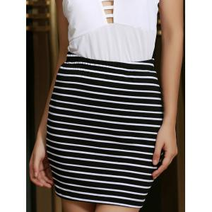 Black White Striped Women's Skirt