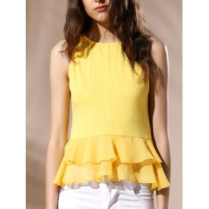 Sexy Round Neck Ruffled Solid Color Top For Women - Yellow - S