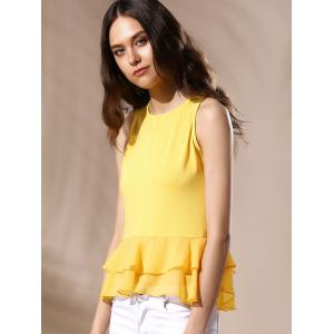 Sexy вокруг шеи Ruffled Solid Color Top для женщин -