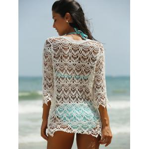 Hollow Out Lace Swimsuit Cover-Ups - WHITE ONE SIZE(FIT SIZE XS TO M)