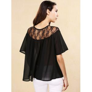 Sweet Keyhole Neck Short Sleeves Lace Up Chiffon Blouse For Women -