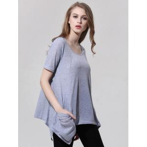 Fashionable Scoop Neck Asymmetric T-Shirt For Women -