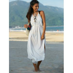 Bohemian Halter Furcal Backless Solid Color Women's Dress -