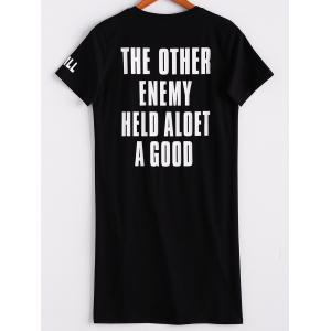 Casual Short Sleeve Round Neck Letter Print Women's Long Tee -