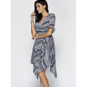 Chic Women's V Neck Flare Sleeve Print Asymmetrical Dress -