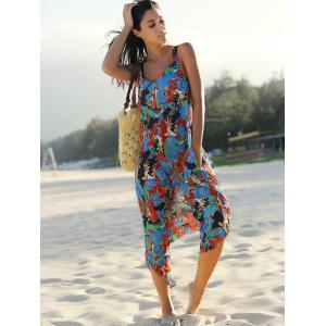 Spaghetti Strap Pocket Design Floral Jumpsuit - COLORMIX L