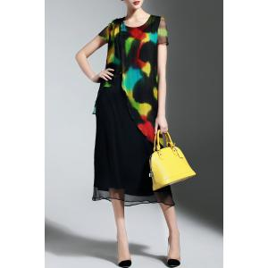 Asymmetrical Colorful Print Dress -
