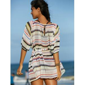 Fashionable Round Collar Multicolor Striped Women's Mini Dress -