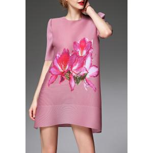 A Line Floral Print Ruched Dress -