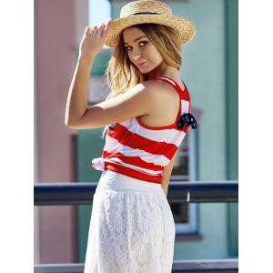 Stylish Scoop Neck Sleeveless Striped Bowknot Embellished Women's Tank Top -