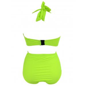 High Waist Plus Size Halter Top Bikini - NEON GREEN 4XL