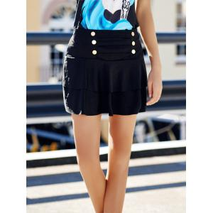 Stylish High-Waisted Multi-Layered Button Design Women's Skirt - BLACK ONE SIZE(FIT SIZE XS TO M)