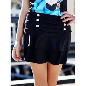 Stylish High-Waisted Multi-Layered Button Design Women's Skirt