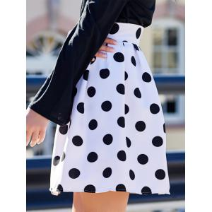 Sweet High-Waisted Polka Dot Ruffled Women's Skirt - WHITE AND BLACK XL