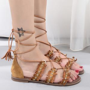 Casual Lace-Up and Tassels Design Sandals For Women -