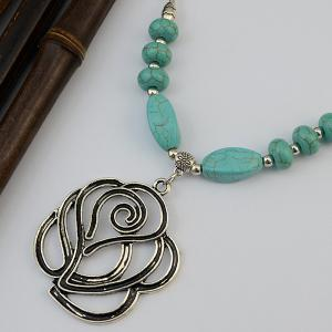 Vintage Faux Turquoise Hollow Out Rose Necklace -