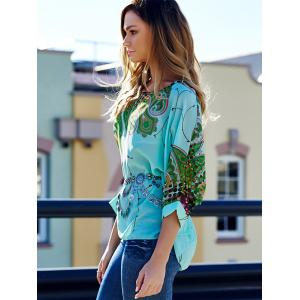 Stylish Scoop Neck Batwing Sleeve Printed Loose-Fitting Chiffon Blouse For Women -