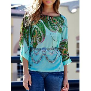 Stylish Scoop Neck Batwing Sleeve Printed Loose-Fitting Chiffon Blouse For Women - Colormix - L
