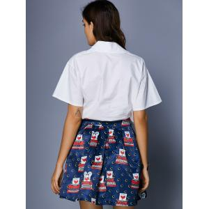 Chic Women's Bat Sleeve Shirt Collar Blouse + Print Skirt -