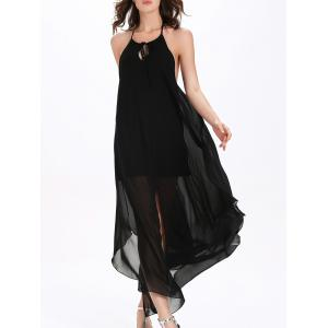 Flowy Backless Chiffon Maxi Cocktail Dress - BLACK XL