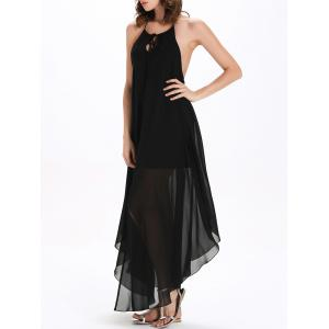 Flowy Backless Chiffon Maxi Slit Cocktail Dress - BLACK XL