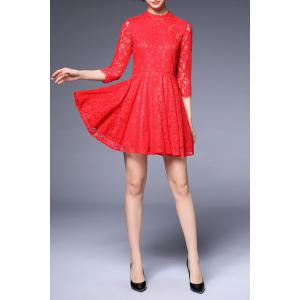 Three Quarter Sleeve Frog Lace Dress -