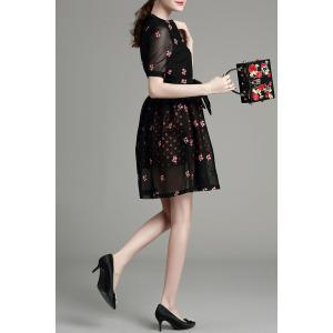 Tiny Flower Embroidered Bowknot Dress -