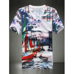 Casual V-Neck Ships Printing T-Shirt For Men