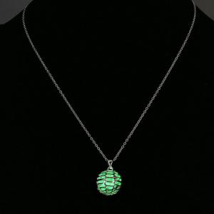 Luminescent Hollow Out Ball Faux Gem Necklace - NEON BRIGHT GREEN