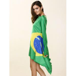 Novelty Round Neck Asymmetrical Brazil Flag Print Dress For Women -
