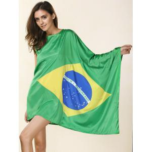 Novelty Round Neck Asymmetrical Brazil Flag Print Dress For Women