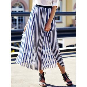High Waist Vertical Striped Maxi Skirt - Cadetblue - One Size