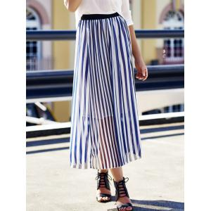 High Waist Vertical Striped Maxi Skirt -