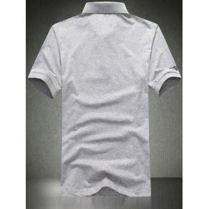 Turn-Down Collar Plus Size Letters Applique Short Sleeve Polo T-Shirt For Men -