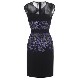 Floral Embroidered Sleeveless Bodycon Dress For Women -