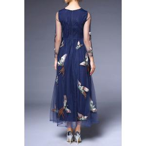 Round Collar Voile Embroidery Dress -
