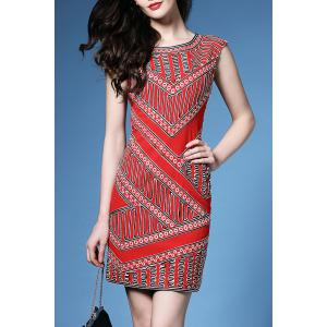 Straight Fitted Geometric Print Dress -