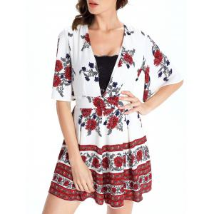 Short Sleeve Plunging Neck Floral Short Romper -
