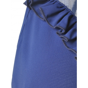 Fashionable Loose-Fitting Scoop Neck Mini Dress For Women - DEEP BLUE L