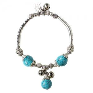 Ancient Style Semi Precious Stone Bead Alloy Charm Bracelet - Lake Blue