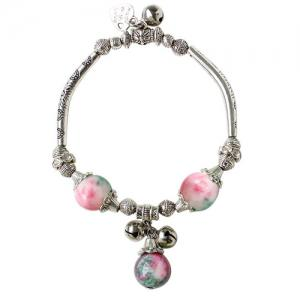Ancient Style Semi Precious Stone Bead Alloy Charm Bracelet - Light Pink - One-size