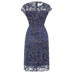 Embroidered Cap Sleeves Bodycon Dress For Women -