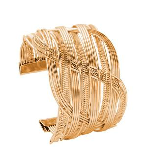 Crossed Hollowed Cuff Bracelet - Golden - One-size